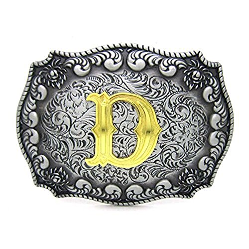 Initial Letters Western Style Cowboy Rodeo Gold/Silver Large Belt Buckles (D)