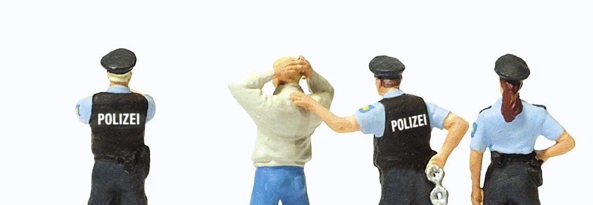 Preiser 1/87th–pr10589–Modelleisenbahnen–Verhaftung von drei Polizisten