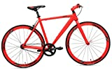RapidCycle Evolve Fixed Gear Bike - Aluminum Flat bar (700CC, 53CM Frame, Red Color)