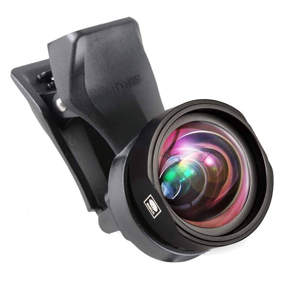 Sirui SU18WAK+MSC-06 SIRUI Black Upgraded Version 18mm Mobile Phone Auxiliary Camera Attachment Lens with Mobile Lens Clip Adapter, Wide Angle by Sirui
