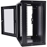 Safstar Wall Mount Network Server Data Cabinet Enclosure Rack Glass Door Lock w/ Fan (18U)