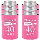 Shop4Ever Cheers & Beers to 40 Years Can Coolie Birthday Drink Coolers Coolies Neon Pink - 6 Pack