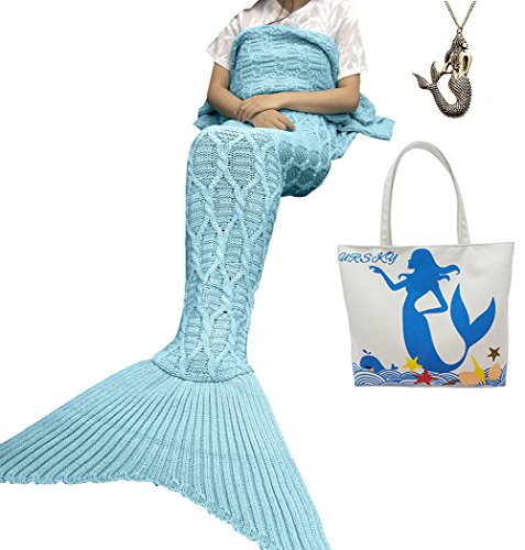 [URSKY Handmade Crochet Knitted Snuggle Mermaid Tail Blanket For Adult, Children, Teens, All Seasons Sofa Living Room Sleeping Bag Blanket (74.8