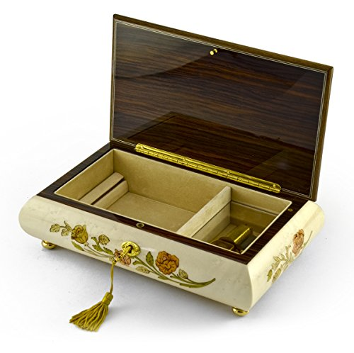 Handcrafted Bianco 18 Note Roses Inlay Musical Jewelry Box with Lock and Key - There is No Business Like Show Business by MusicBoxAttic (Image #3)