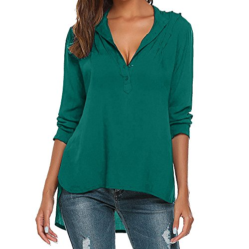 LEXUPA Womens Fashion V-Neck Long Sleeve Blouse Pure Color Casual Loose Shirts Tops(Green,XXXX-Large)