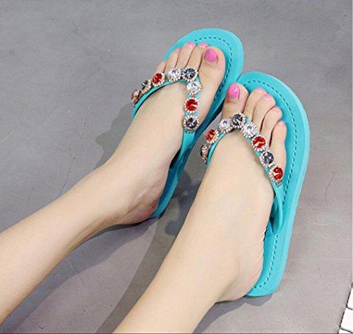 des de Mode Plat Chaussures Romaines CHENGXIAOXUAN des Douces Sandales Sandales Antidérapantes de des Portant Tongs pour des à Colorées Plage Femmes Tongs Lakeblue Fond qATYAEw