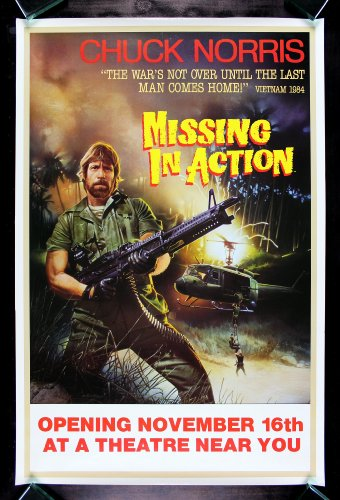 Missing In Action * CineMasterpieces Chuck Norris Vietnam Machine Gun Original Movie Poster