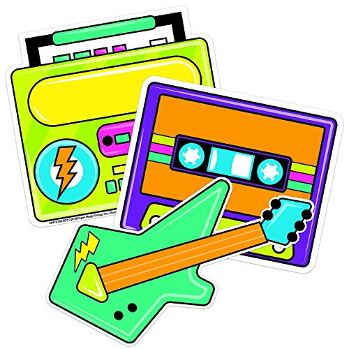 Eureka Back to School 80s Boombox Paper Cut Out Classroom Decorations for Teachers, 5.5'' W x 5.5'' H (Real 80s Boombox)