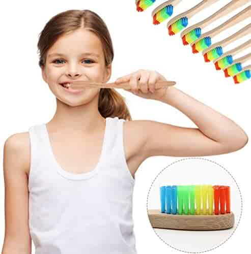 Bamboo Toothbrush, Exteren Eco-Friendly Rainbow Bamboo Soft Fibre Toothbrush Biodegradable Teeth Brush Oral Care (Rainbow)