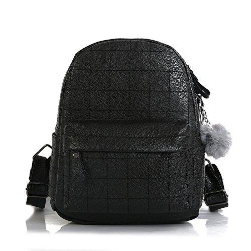 RFVBNM Mochila de las mujeres mochila de moda Bolsas de alta calidad de las señoras Mochila Mini bolso de hombro femenino Bolso colgante de la bola de pelo mejor regalo para las niñas 23 * 27 * 12 cm,