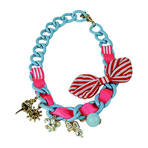 Toddler Girls Edgy Novelty Chain Link Necklace with Embellishments (Red and White Stripe Bow) Stripe Chain Link