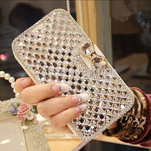 iPhone 6S Plus/iPhone 6 Plus Wallet Case,Bling Diamond Bowknot Shiny Crystal Rhinestone PU Leather Card Slot Pouch Flip Cover Kickstand Case for Girl Woman Lady (Clear) (Iphone 6 Plus Case Bling Crystal)