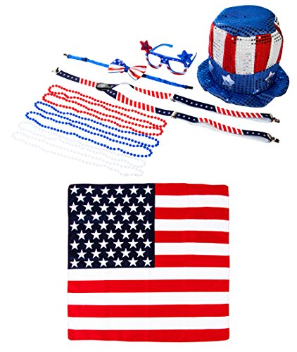 Patriotic Costume Accessory - 11-Piece American Flag Party Top Hat, Sunglasses, Bow Tie, Suspender, Bead Necklaces, - Independence Hat Day