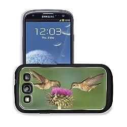 Pair Hummingbirds Purple Flower Eating Samsung I9300 Galaxy S3 Snap Cover