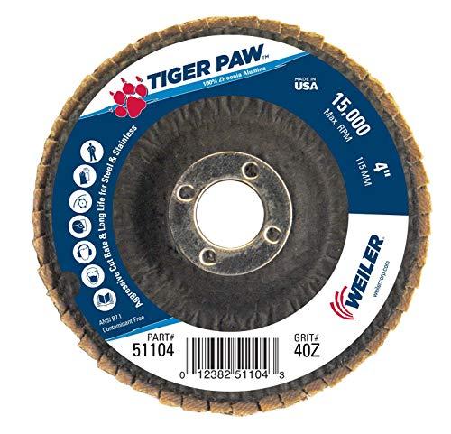 (Weiler 51104 Tiger Paw High Performance Abrasive Flap Disc, Type 29 Angled Style, Phenolic Backing, Zirconia Alumina, 4