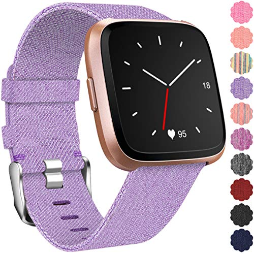 Maledan Replacement for Fitbit Versa Bands Women Men Large Small, Woven Fabric Accessories Strap Wrist Band Compatible with Fitbit Versa Smart Watch (Lavender, Large Size: 6.3-7.8)