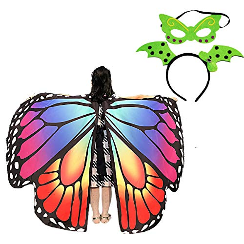 Kids Butterfly Wings Cape Shawl Costume Mask for Girls Rainbow Halloween Dress Up Party (Rainbow 1)