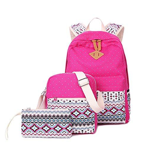 Gypsy Print 3 Pcs Canvas Backpack Cute Lightweight Backpacks School Shoulder Bags Purse For Women Teen Girls