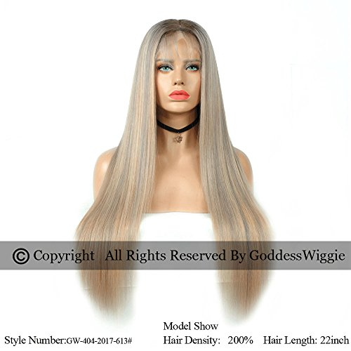 3T Ombre Balayage Honey Blonde With Gray Highlights Silky Straight Hair Style Lace Front Human Hair Wigs With Natural Baby Hair For Women (22inch 150%) by Goddess
