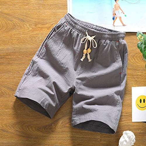 HKXR 夏の新ショーツルースメンズカジュアルショーツブラックホワイト巾着ウエストバミューダショーツ男性プラスサイズ4XL 5XL (色 : グレー, サイズ : XL)