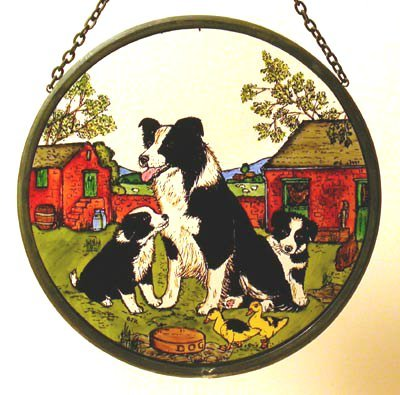 Decorative Hand Painted Stained Glass Window Sun Catcher/Roundel in a Collie and Pups Design.