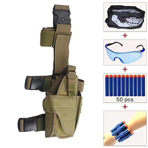 Airsoft Tactical Mask Firepower (Kids Adjustable Tactical Leg Holster Kit (comes with 50pcs Blue Foam Darts+Protective Goggles+Seamless Face Mask+2pcs Refill Darts Wrist Belt) for Nerf Toy Gun N-strike Elite Series (Khaki))