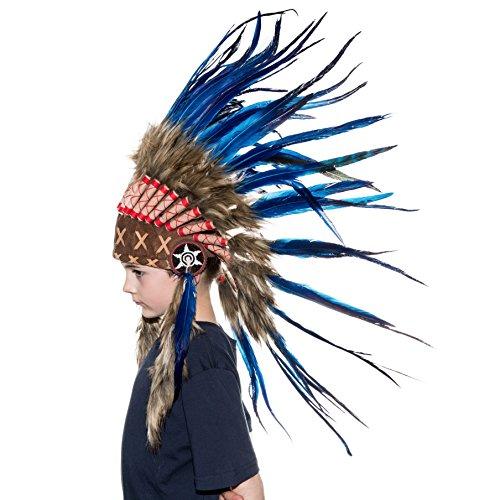 [Novum Crafts Kids Feather Headdress | Native American Indian Inspired | Blue] (Indian Headress)
