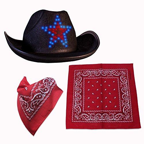 Premium LED Light-UP Cowboy Hat & Bandana Set (Star LED Cowboy Hat & Bandana (Party City Cowboy Hat)