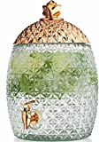 Glass Pineapple Large Drink Beverage Dispenser with Easy Push Spigot (1.75 Gallons) (Gold)