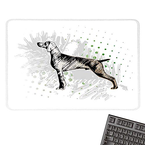 (Hunting DecorCustomize Mouse padSketch of Weimaraner Dog Canine on Grungy Abstract Backdrop ArtworkCustomized Mouse Pad 15.7