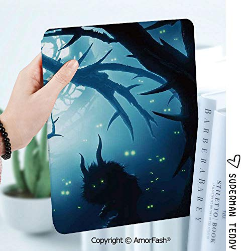 Case for Galaxy Tab A 8.0 Inch SM-T380/T385 2017,Anti Slip Kids Friendly,Mystic House Decor Animal with Burning Eyes in Dark Forest at Night Horror Halloween Illustration -