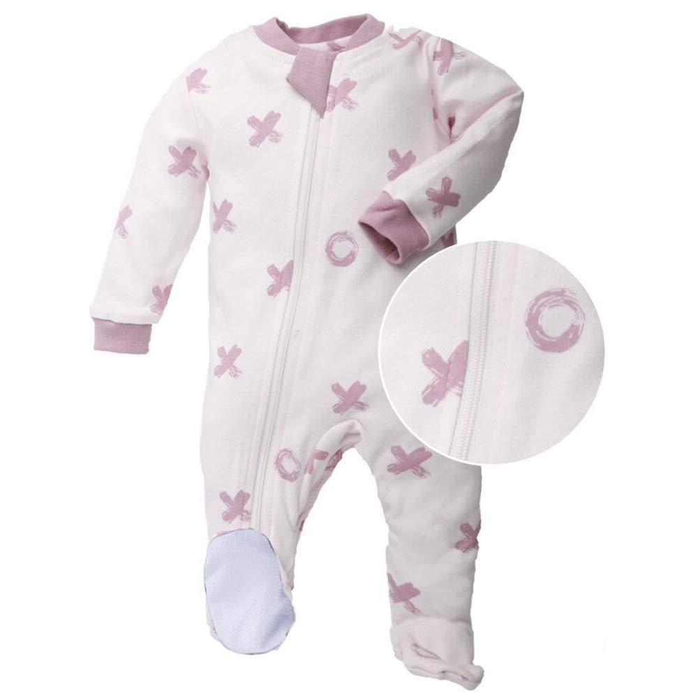 a500b96aca0c Galleon - ZippyJamz Organic Baby Footed PJs W Inseam Zipper ...