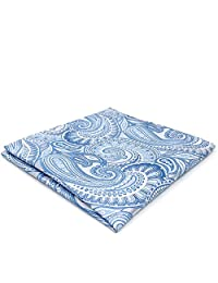 Shlax&Wing Azure Silver Paisley Mens Pocket Square Silk Wedding Business