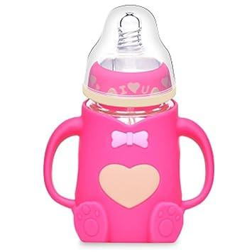 YINGER Suministros para bebés recién nacidos Botella de vidrio Estuche de silicona Prevenir la flatulencia Ancho