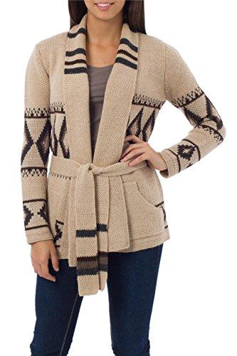 NOVICA Beige and Black Alpaca Wool Cardigan Sweater, 'Andean Sierra'