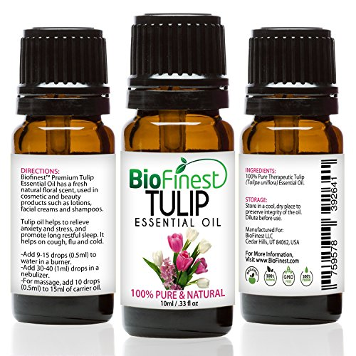 BioFinest Tulip Oil - 100% Pure Tulip Essential Oil -Promote Restful Sleep, Relieve Stress- Premium Quality - Therapeutic Grade - Best For Aromatherapy - FREE E-Book (10ml)