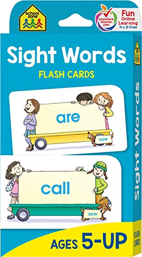 School Zone - Sight Words Flash Cards - Ages 5 and Up, Kindergarten to 1st Grade, Phonics, Beginning Reading, Sight Reading, Early-Reading Words, and More -