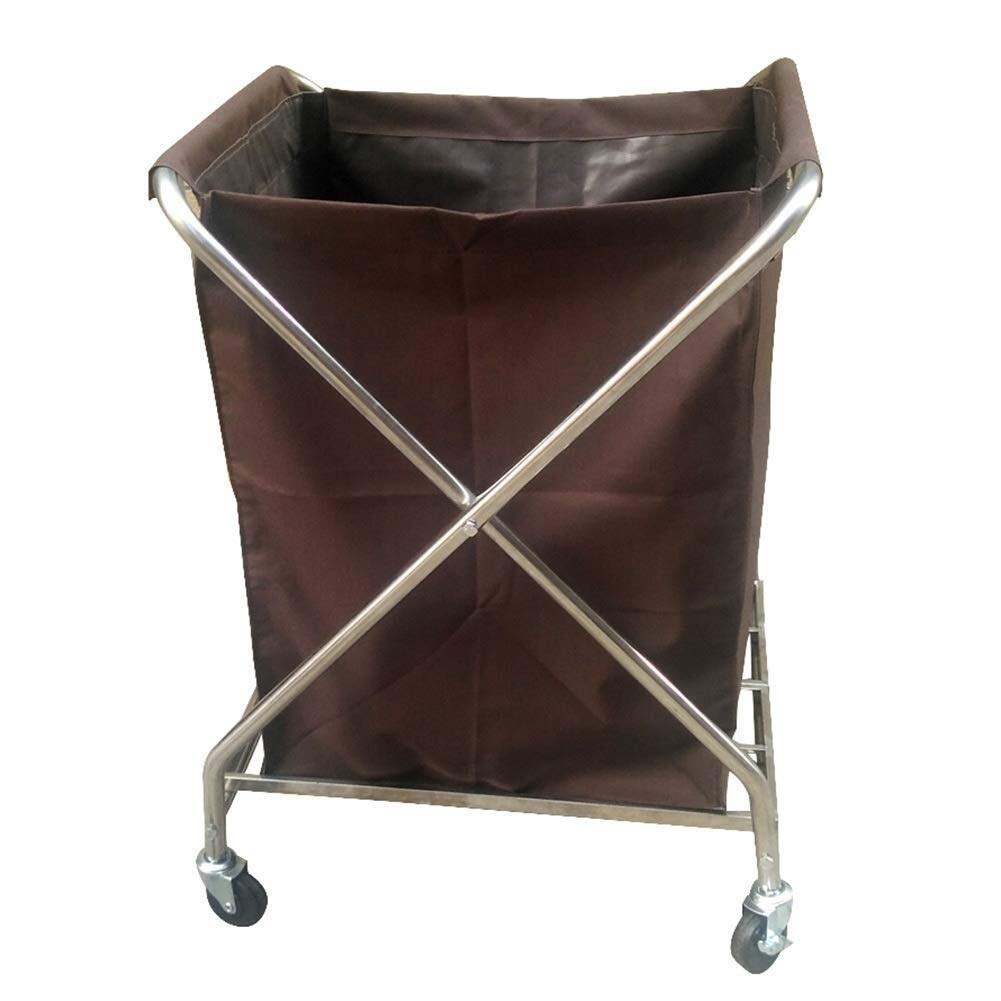 Xiao Jian Laundry Hamper with Steel Frame and Oxford cloth,Commercial Collapsible Sorter Linen Trolley Home Laundry Basket on Wheels Laundry basket trolley Color : Beige