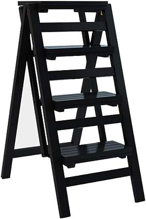 Taburete de Escalera 4 escalones Taburete Plegable de Interior multifunción para Adultos Niños Cocina Taburete de Escalera de Seguridad Soporte para Flores Soporte de Carga MAX.150 kg - Negro: Amazon.es: Hogar