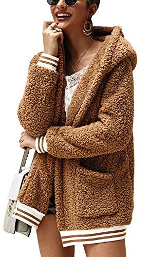 BTFBM Women Fleece Hooded - Open Front Long Sleeve Fuzzy Sherpa Loose Warm Winter Two Pockets Coat Jacket Outwear (Khaki, Small)