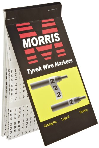 Morris Products 21256 Wire Marker Booklet, Tyvek, A-Z, 0-15, +, -, /  Markings