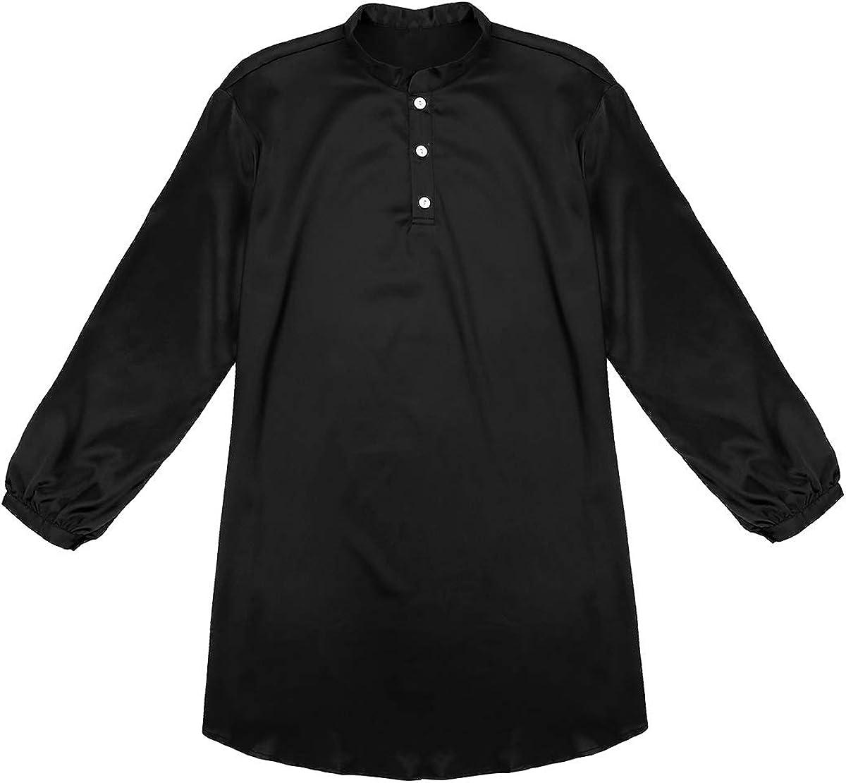 iEFiEL Herren Nachthemd Satin Einteiliger Schlafanzug Langarm Hemd Body Schlafoveralls Pyjamas Loose T-Shirt M-2XL