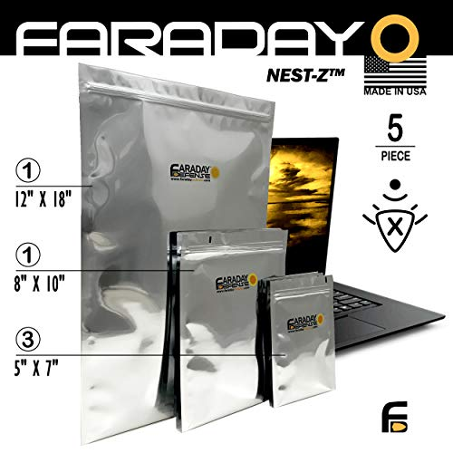 Faraday Cage EMP/ESD Bags Premium 5pc Kit Thick & Heavy Duty Quality Kit for Medium Notebook, External Hard Drive, iPad Windows (Nuclear Laptop Bag)
