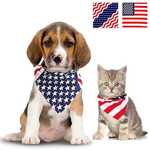 Jashem American Flag Dog Bandana USA Pet Bandanas Large Cotton Puppy Triangle Bibs Scarf Large Medium or Small Dog Collar for July 4th