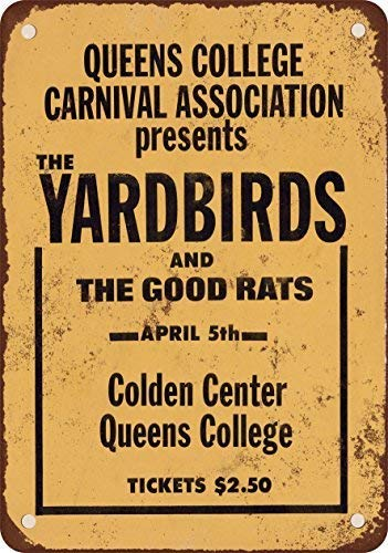 GMNJH 1968 The Yardbirds at Queens College New York Vintage Look Reproduction Metal Tin Sign 8X12 Inches