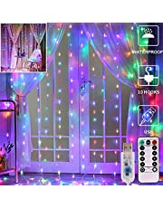 Bedroom LED Curtain Lights, Christmas 300 Led Window Curtain Lights, Led Fairy Light Curtains for Wedding Party Home Garden Bedroom Outdoor Indoor Wall Decorations 9.8x9.8 Ft