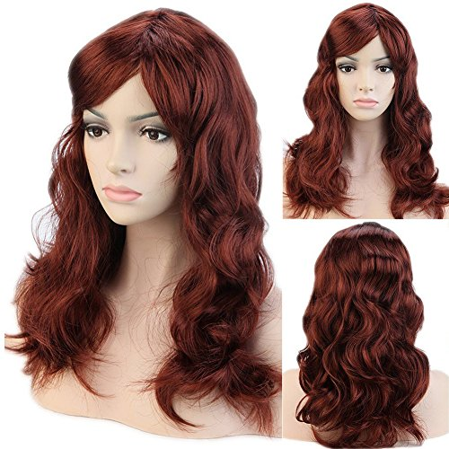 [Dark Auburn Cosplay Synthetic Full Wig with Bangs 19'' / 19inch 20 Styles Heat Resistant Fiber Vogue Long Curly Wavy Layered for Women Girls Lady Halloween Anime Costume Party] (Sexy Glamour Wig In Auburn)