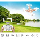 ECLEAR RC Mini Drone, 4 Channel 2.4GHz 6-Axis Gyro Aircraft with HD Camera LED Lights + WiFi FPV Headless Mode 3D Roll Remote Control Quadcopter Toys For Adult Kids, Rose Gold