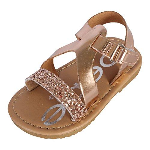 bebe Girls Metallic Glitter Sandals, Rose Gold, 7 M US ()