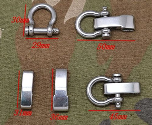 5 Pack /Lot Adjustable Bow Shackles Stainless Steel for Paracord Survival Bracelets (S506B)